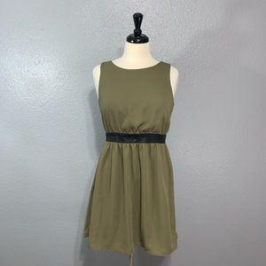 Monteau | Olive Vegan Leather Trim Open Back Dress